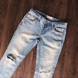 Free People Destroyed Ankle Skinny Jeans